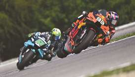 Red Bull KTM Factory Racing's Brad Binder leads Petronas Yamaha SRT's Franco Morbidelli during the C