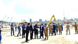 Qatar's ambassador to Lebanon Mohamed Hassan al-Jaber visited the explosion site at Beirut port in t