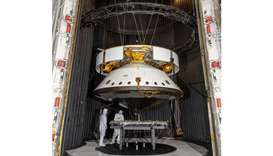 PREP: Engineers prepare the Mars 2020 spacecraft for a thermal vacuum test on May 9, 2019 in the Spa