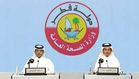 Dr Abdullatif al-Khal (right) and Dr Hamad al-Romaihi at the press conference
