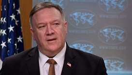 US Secretary of State Mike Pompeo speaks during a press conference at the State Department in Washin