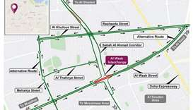 Traffic diversion at Al Waab Interchange until Saturday evening