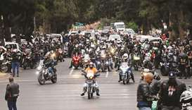 Bikers United Against Farm Murders and Racism ride towards the Union Buildings in Pretoria, yesterda