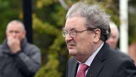 Former SDLP leader, John Hume, arrives for the funeral mass of former Bishop Edward Daly at St. Euge