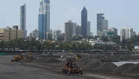 A coastal road project construction site in Mumbai. India's economy contracted by the most on record