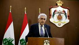 Lebanese Foreign Minister Nassif Hitti speaks at a news conference in Amman, Jordan, July 2