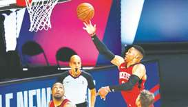 Russell Westbrook of the Houston Rockets goes up for a shot against the Milwaukee Bucks during their