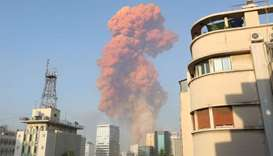A picture shows the scene of an explosion in Beirut