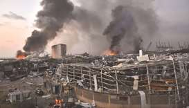 A general view of the scene of the explosion at the port of Lebanon's capital Beirut