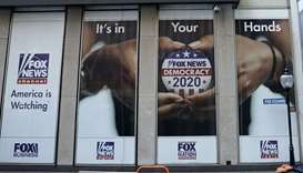 SPOT:LIGHT: A political display is posted on the outside of the  Fox News headquarters on 6th Avenue