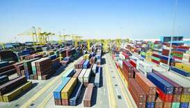 Containers are seen at Hamad Port in Doha (file). This year Qatar's merchandise trade balance has be
