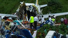 Wreckage of Air India Express jet is pictured at Calicut International Airport in Karipur