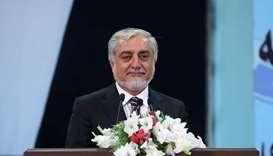 Chairman of the High Council for National Reconciliation Abdullah Abdullah speaks during the last da