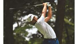 USA's Xander Schauffele watches his drive from the 5th tee in round 3 of the individual stroke play
