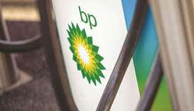 The BP company logo on an electric vehicle charging point in Milton Keynes, UK. BP will increase its