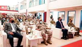 Guests and officials at the opening of the dormitories at Al Udeid Air Base