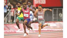 Andre De Grasse (right) of Canada in action on his way to winning the 200m final ahead of silver med