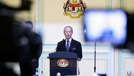 Malaysia's Prime Minister Muhyiddin Yassin speaking during his cabinet announcement in Putrajaya, Ma