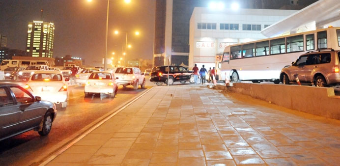 A long queue of vehicles at a petrol station in Doha. PICTURE: Najeer Feroke