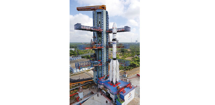 A view of ISRO's GSLV-D6 that is scheduled to carry the GSAT-6 at Sriharikota rocket port of the Sat