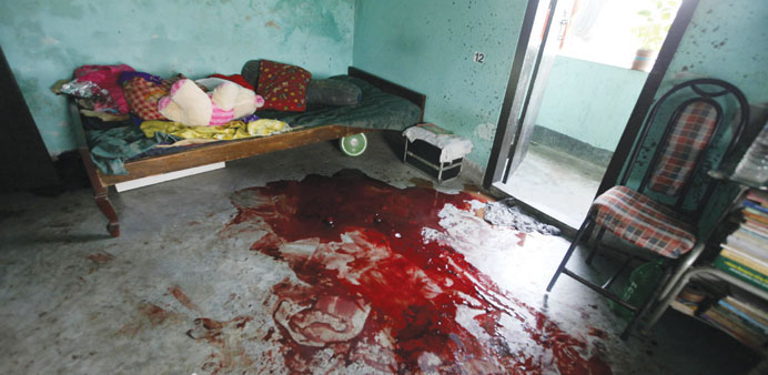 The room where Niloy Chakrabarti was murdered at his home in Dhaka.