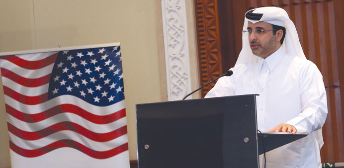 Abdulla Abdulaziz al-Subaie delivering a lecture yesterday. PICTURE: Anas Khalid