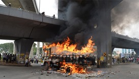 A truck from neighbouring state Tamil Nadu burns