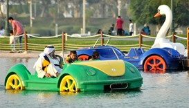 Paddle boats are among the popular amenities at Aspire Park. PICTURE: Peter Alagos.