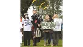 Demonstrators protest against fracking outside Grangemouth as the first shipment of shale gas from t