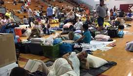 People take shelter at Key West High School in Key West, Florida