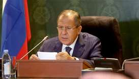 Russian Foreign Minister Sergei Lavrov speaks during a press conference with his Saudi counterpart (