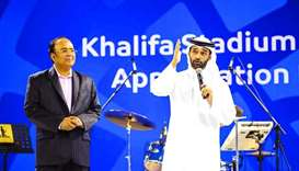 SC secretary general Hassan al-Thawadi thanks Khalifa Stadium workers.