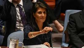 US Ambassador to the UN, Nikki Haley prepares to deliver remarks during a United Nations Security Co