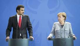 His Highness the Emir Sheikh Tamim bin Hamad Al-Thani and German Chancellor Angela Merkel  attend a