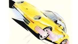 Yellow car sketch: Designskizze Porsche 959 Coupé © Porsche-Museum.