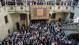 Catalan pro-referendum mayors gather at the Cataland regional government headquarters