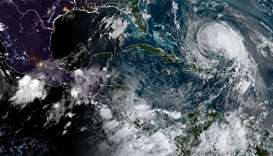 Satellite image shows Hurricane Max (L) and Hurricane Jose (R)