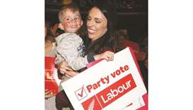 Leader of the Labour Party Jacinda Ardern has photos taken with supporters at a Labour Party rally a