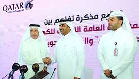 Kahramaa president Essa bin Hilal al-Kuwari and Qatar Airways Group chief executive Akbar al-Baker e