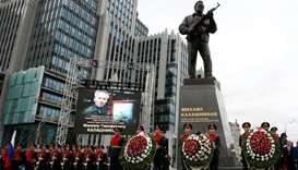 Guards of honour at Kalashnikov, AK-47 designer, ceremony in Moscow