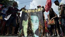Activists protest against Philippine President Rodrigo Duterte