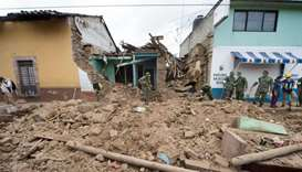 Damaged houses are seen in Joquicingo, Mexico on September 21, 2017 following a strong earthquake tw