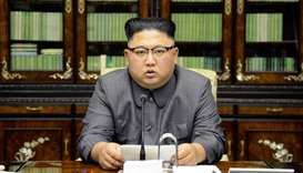 North Korea's leader Kim Jong Un makes a statement regarding US President Donald Trump's speech at t