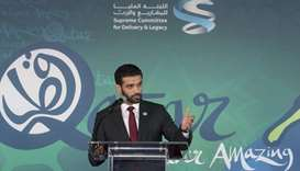 SC secretary general Hassan al-Thawadi addressing an event at the UN, in New York.