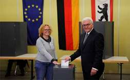 German President Frank-Walter Steinmeier casts his vote in Berlin on Sunday