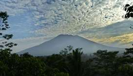 Mount Agung from Karangasem on the Indonesian resort island of Bali