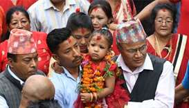 Three-year-old anointed as 'living goddess' in Nepal