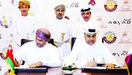 One of the signings that took place at the Omani Products Exhibition between Qatari and Omani compan