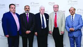 The members of the British Parliamentary Inquiry Committee in Doha yesterday. PICTURE: Shaji Kayamku