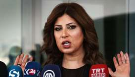 The director of Arbil airport, Talar Faiq Salih, speaks during a press conference at the airport,